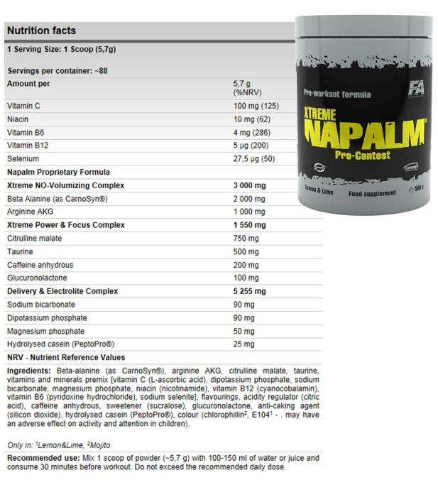 Fitness Authority XTREME Napalm PRE-VERSENY 500g