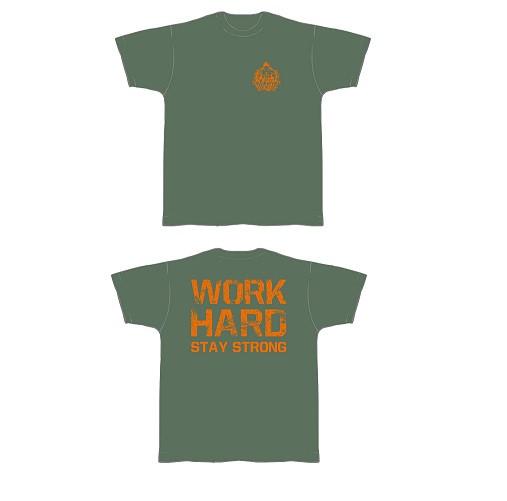 Gym Shirt Herren Olivegrün mit orangefarbenen Aufdruck - T-Shirt von NF24