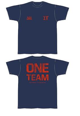Gym Shirt Herren blau mit orangerotem Aufdruck - T-Shirt von NF24